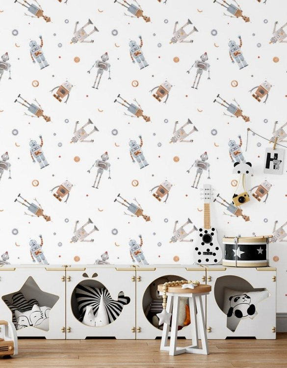 Sure to be adored by little ones, the Small Robots Children's Wallpaper is a fun addition to any nursery or playroom. Go on an adventure with our kid's wallpaper for children's rooms! A well-chosen pattern can visually enlarge the interior.