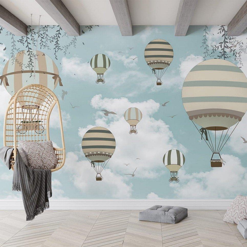 Spring Retro-Balloons Children's Wallpaper