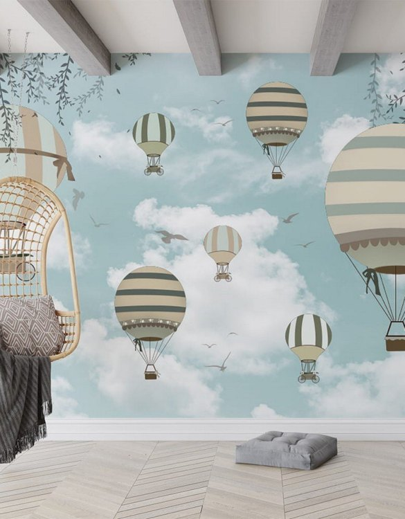 Sure to be adored by little ones, the Spring Retro-Balloons Children's Wallpaper is a fun addition to any nursery or playroom. Go on an adventure with our kid's wallpaper for children's rooms! A well-chosen pattern can visually enlarge the interior.