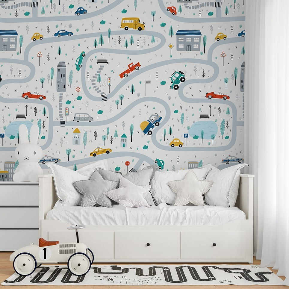Streets of the City 5 Children's Wallpaper