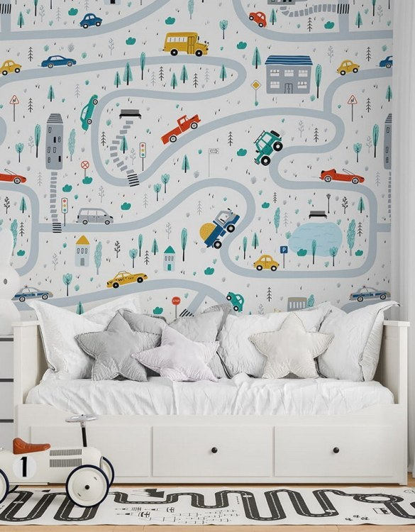 Sure to be adored by little ones, the Streets of the City 5 Children's Wallpaper is a fun addition to any nursery or playroom. Go on an adventure with our kid's wallpaper for children's rooms! A well-chosen pattern can visually enlarge the interior.
