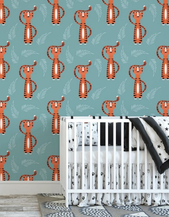 Sure to be adored by little ones, the Stunning Tigers Children's Wallpaper is a fun addition to any nursery or playroom. Go on an adventure with our kid's wallpaper for children's rooms! A well-chosen pattern can visually enlarge the interior.