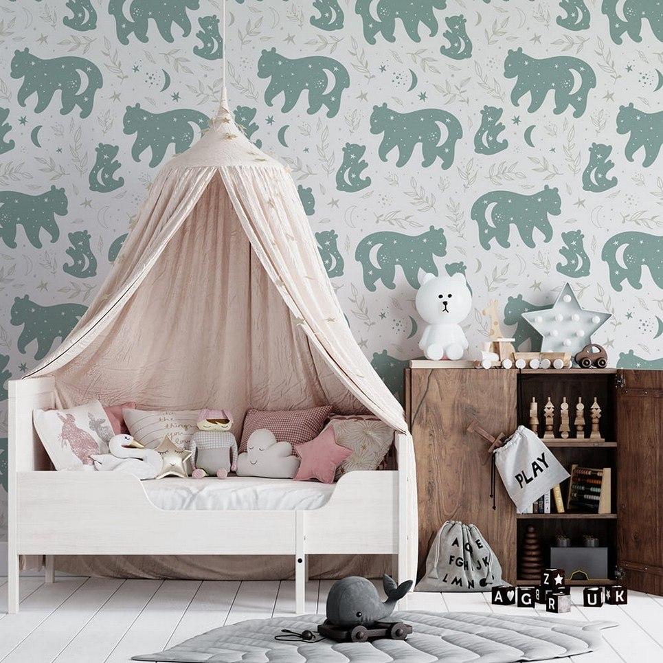 Teddy Bears in The Moon Children's Wallpaper