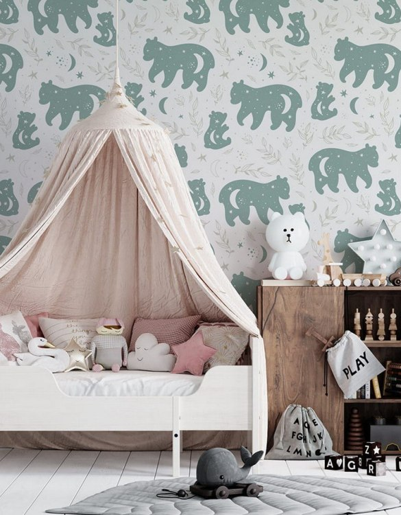 Sure to be adored by little ones, the Teddy Bears in The Moon Children's Wallpaperis a fun addition to any nursery or playroom. Go on an adventure with our kid's wallpaper for children's rooms! A well-chosen pattern can visually enlarge the interior.