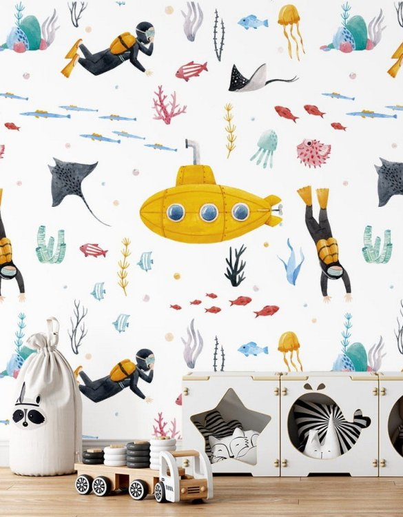 Sure to be adored by little ones, the Underwater World Children's Wallpaper is a fun addition to any nursery or playroom. Go on an adventure with our kid's wallpaper for children's rooms! A well-chosen pattern can visually enlarge the interior.