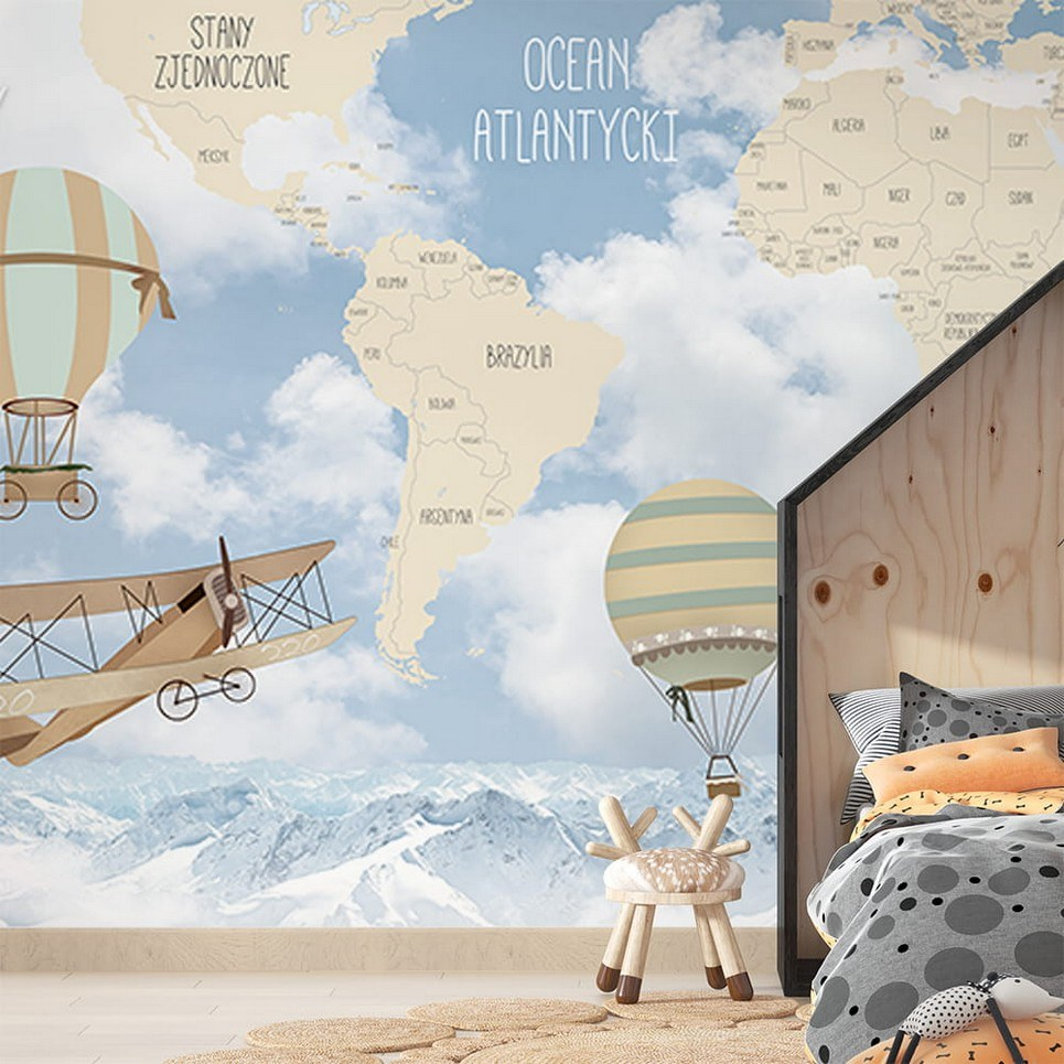 World Map of Retro Airplanes and Balloons Children's Wallpaper