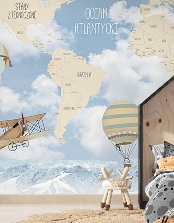 Sure to be adored by little ones, the World Map of Retro Airplanes and Balloons Children's Wallpaper is a fun addition to any nursery or playroom. Go on an adventure with our kid's wallpaper for children's rooms! A well-chosen pattern can visually enlarge the interior.
