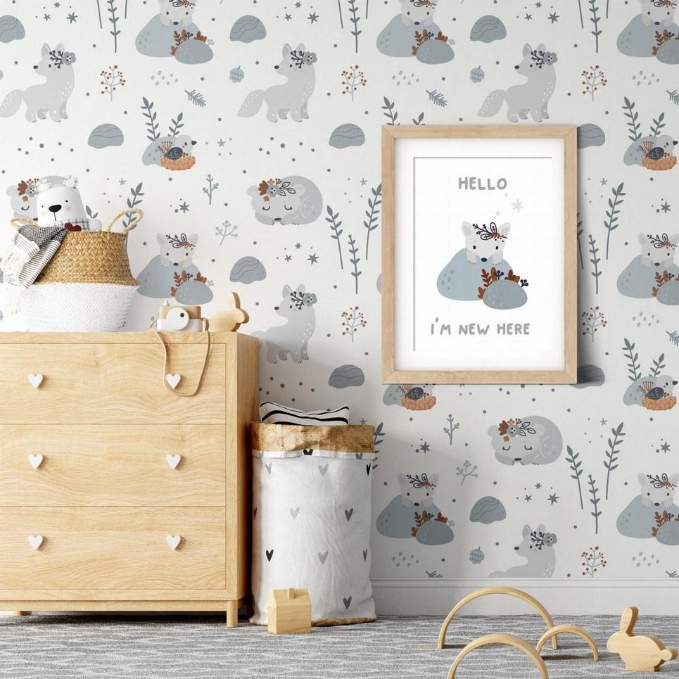 Bears and Wolves Children's Wallpaper