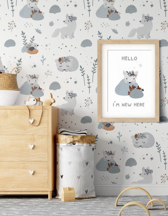 Sure to be adored by little ones, the Bears and Wolves Children's Wallpaper is a fun addition to any nursery or playroom. Go on an adventure with our kid's wallpaper for children's rooms! A well-chosen pattern can visually enlarge the interior.