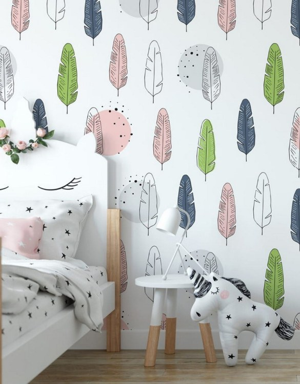 Sure to be adored by little ones, the Feathers Children's Wallpaper is a fun addition to any nursery or playroom. Go on an adventure with our kid's wallpaper for children's rooms! A well-chosen pattern can visually enlarge the interior.