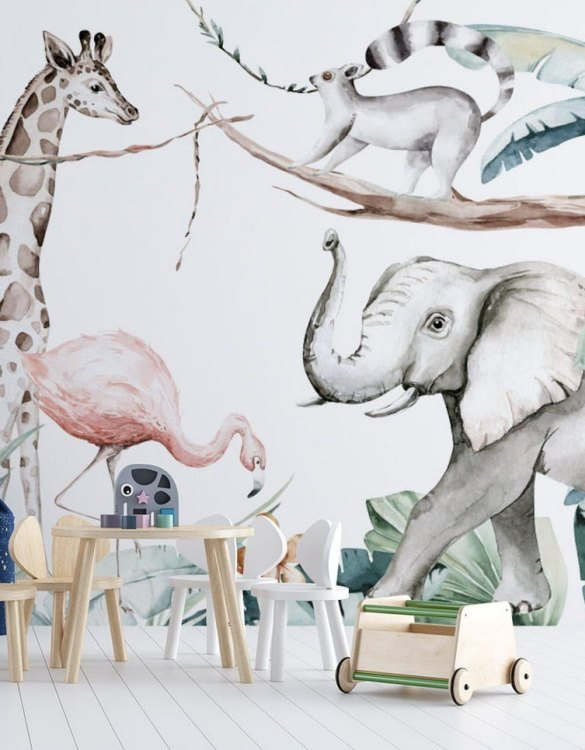 Sure to be adored by little ones, the Jungle and Friends 11 Children's Wallpaper is a fun addition to any nursery or playroom. Go on an adventure with our kid's wallpaper for children's rooms! A well-chosen pattern can visually enlarge the interior.