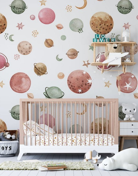 Sure to be adored by little ones, the Planets Children's Wallpaper is a fun addition to any nursery or playroom. Go on an adventure with our kid's wallpaper for children's rooms! A well-chosen pattern can visually enlarge the interior.