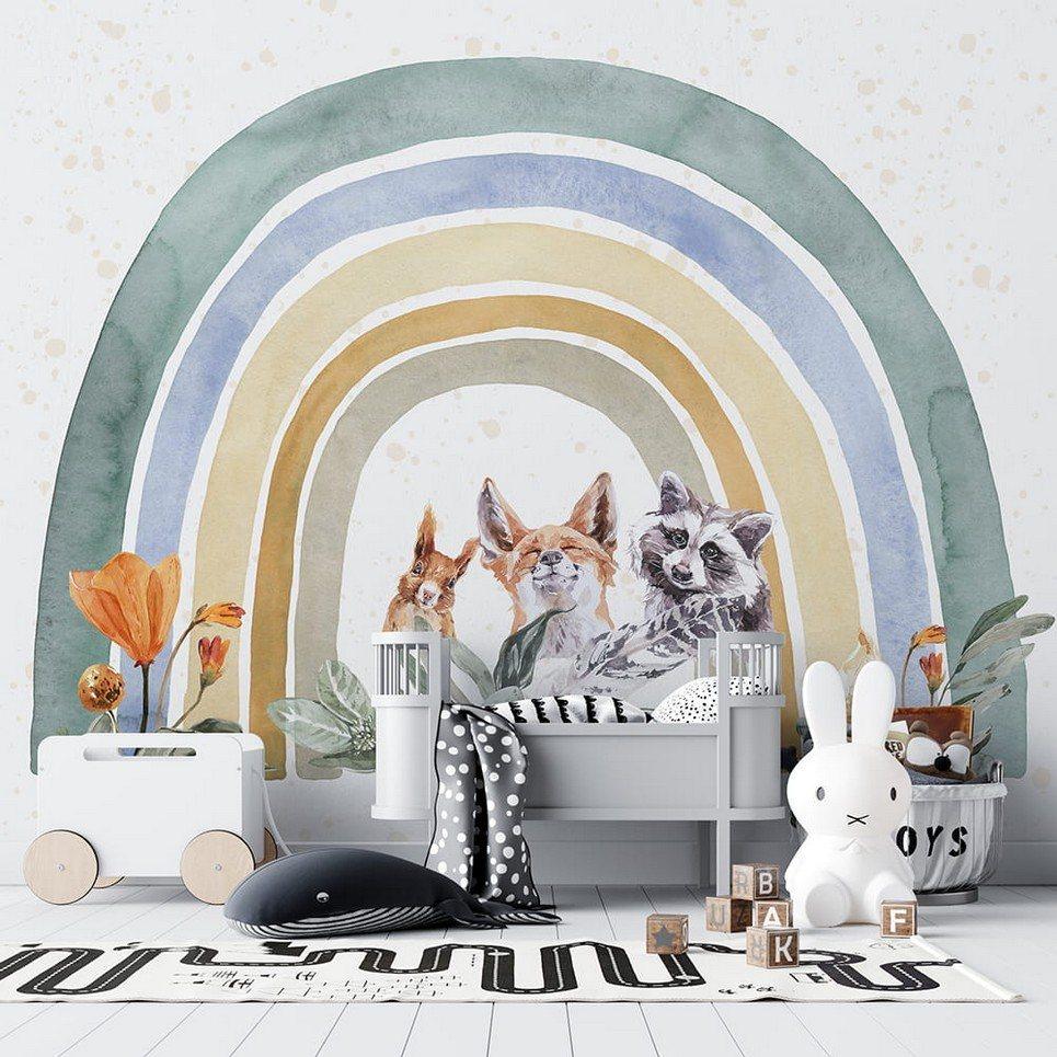 Rainbow Animals Children's Wallpaper
