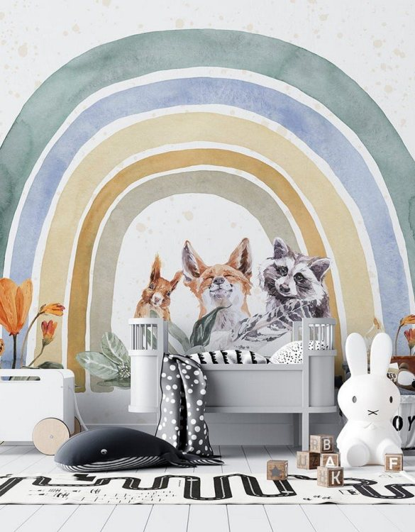 Sure to be adored by little ones, the Rainbow Animals Children's Wallpaper is a fun addition to any nursery or playroom. Go on an adventure with our kid's wallpaper for children's rooms! A well-chosen pattern can visually enlarge the interior.