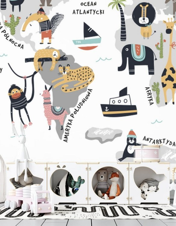 Sure to be adored by little ones, the World of Animals Children's Wallpaper is a fun addition to any nursery or playroom. Go on an adventure with our kid's wallpaper for children's rooms! A well-chosen pattern can visually enlarge the interior.