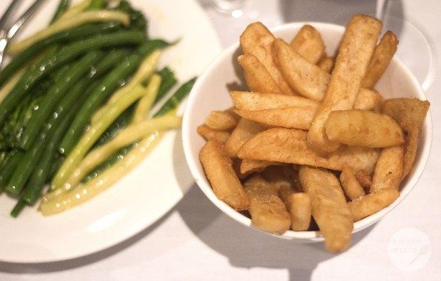 steamed greens, extra virgin olive oil & chips