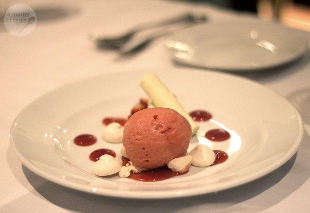 mint & lime parfait, strawberry sorbet & lime meringue
