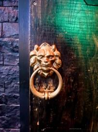 Wooden door detail with a brass lion knocker.