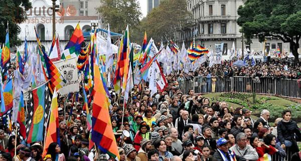 Street parade in Buenos Aires on the Day of respect for
