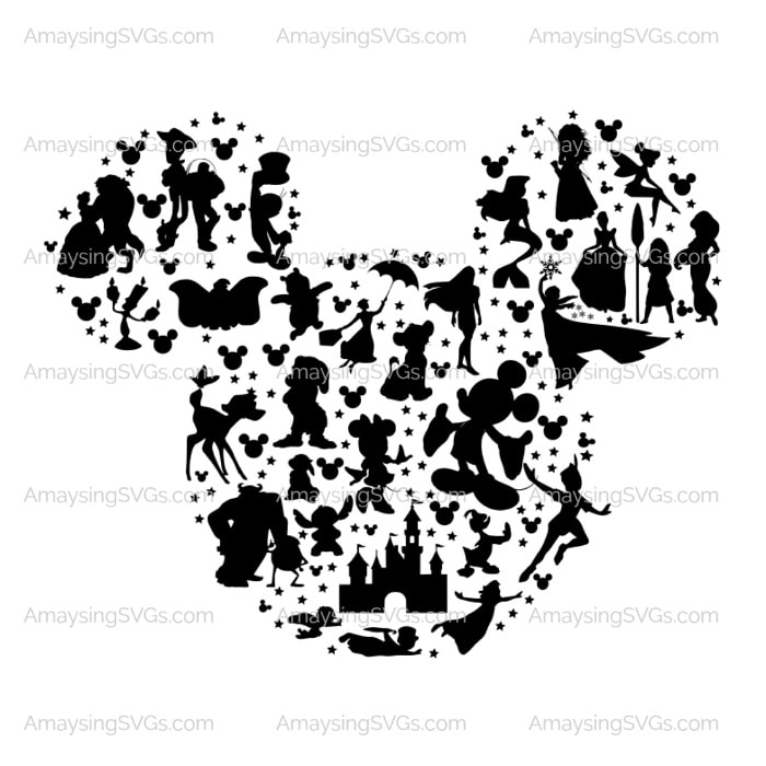 Mickey Head Character Collage SVG