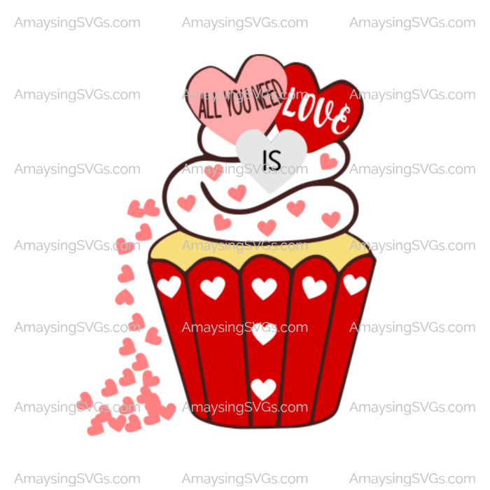 Download All You Need is Love Valentine Cupcake