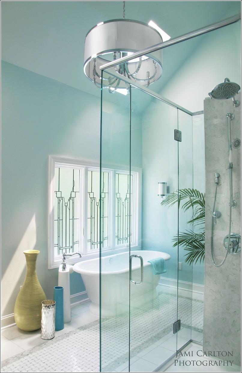 Bathrooms Designed With Serene Aqua Tones