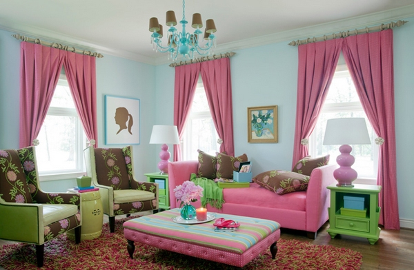 Pink in the Living Room Pink Couch Floral Chairs Pink Curtains Light Blue Walls Colorful Living Room Turquoise Chandelier