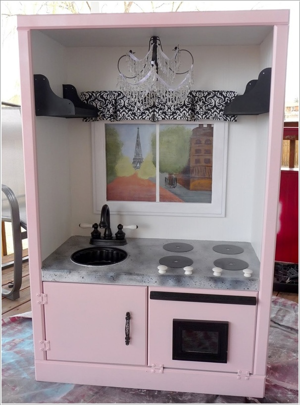 Transform an Old TV Cabinet into a Play Kitchen for Your Little Princess