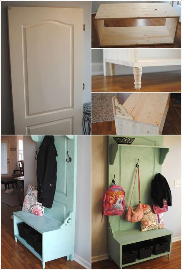 Old Door Recycled As An Awesome Entryway Bench