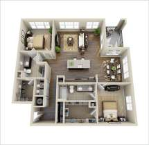 2 Bedroom Apartment Floor Plan 3D Design