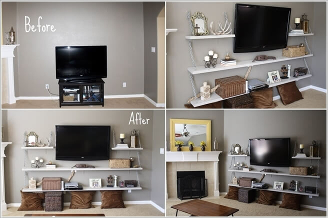 how to decorate living room wall shelves mini bars for 10 cool ways with suspended shelving