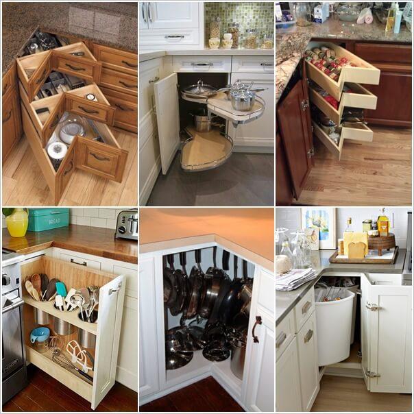 clever kitchen corner cabinet storage and organization ideas