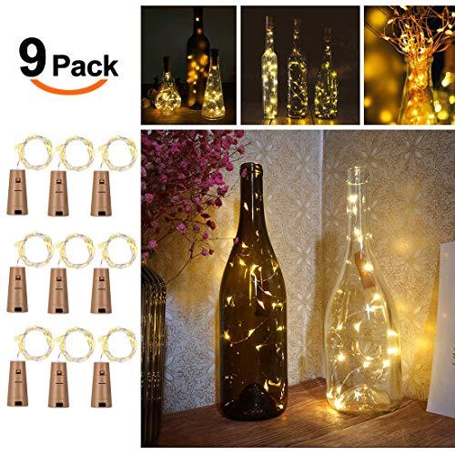 9x 20 LED FlaschenLicht Flaschenlichter Weinflasche