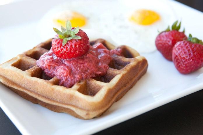 Strawberry Macadamia Nut Paleo Waffles