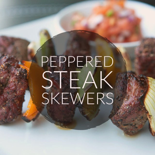 Peppered Steak Skewers