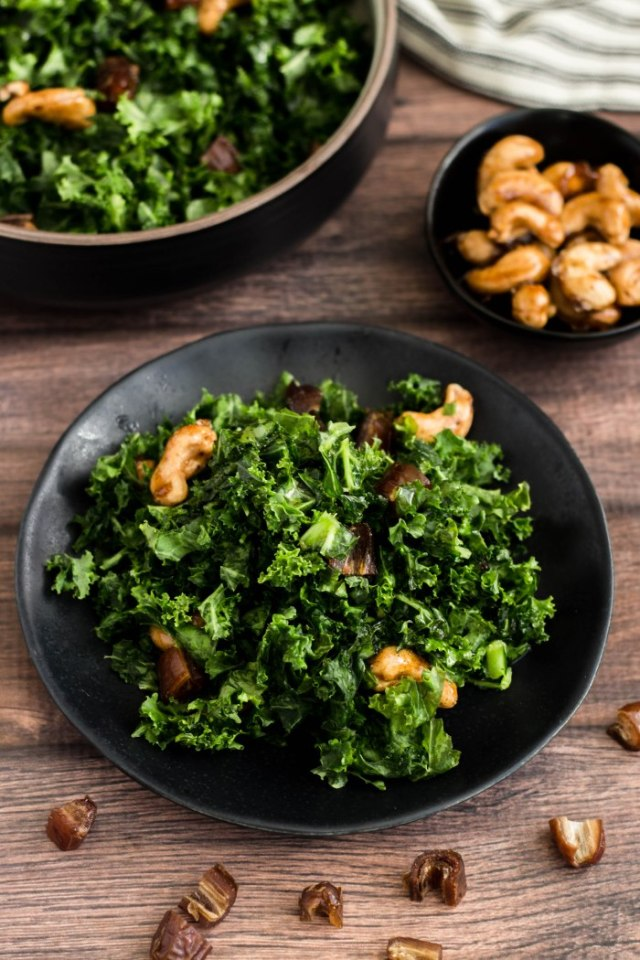 Kale Salad with Spiced Maple Cashews, Dates & Pomegranate Molasses Dressing