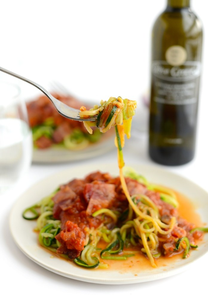 Zoodle Pasta with Mushroom Onion Marinara and Bacon