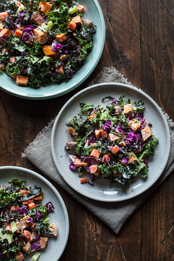 PERFECT WINTER CHOPPED SALAD WITH PUMPKIN SEED PEPPERCORN DRESSING