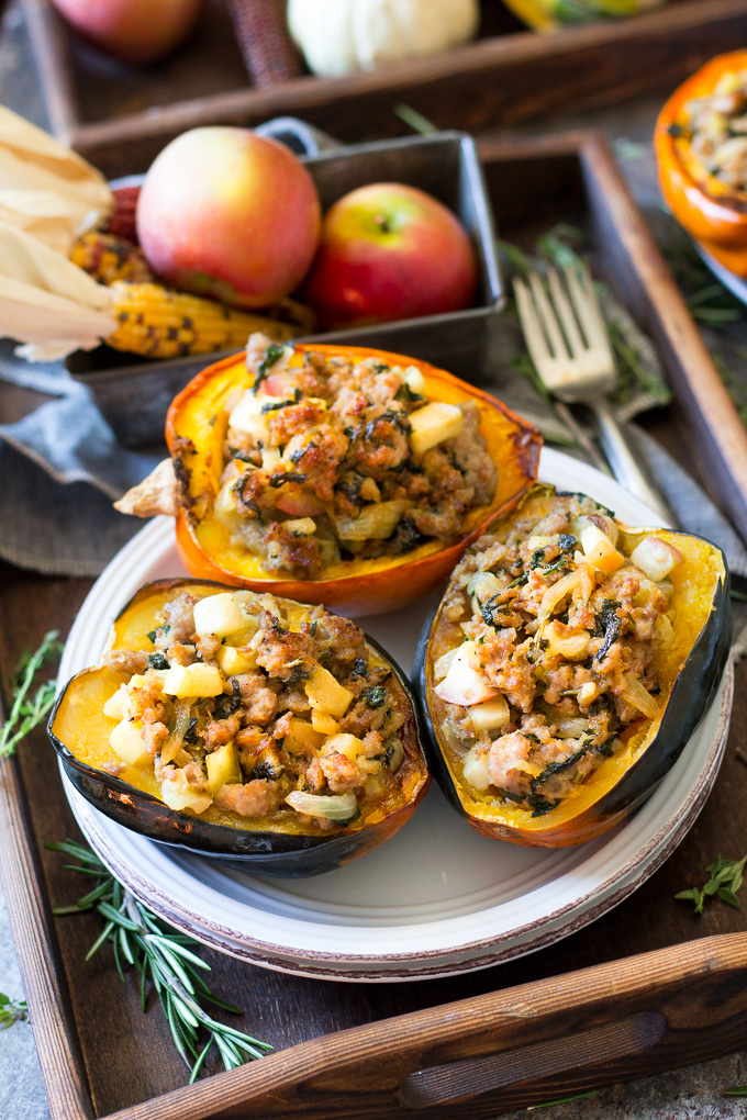 CARAMELIZED ONION APPLE SAUSAGE STUFFED ACORN SQUASH