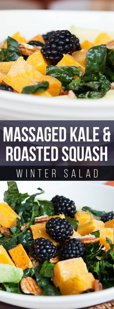 Massaged Kale and Roasted Squash Winter Salad with Maple Vinaigrette