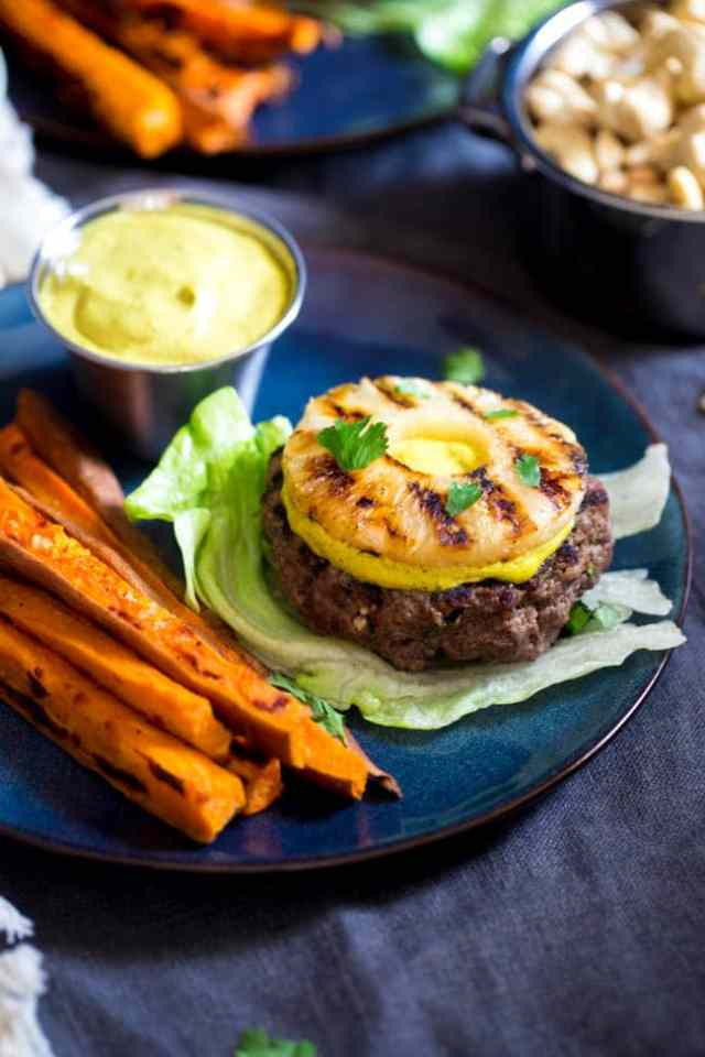 GRILLED PINEAPPLE PALEO BURGER WITH CURRY CASHEW CREAM