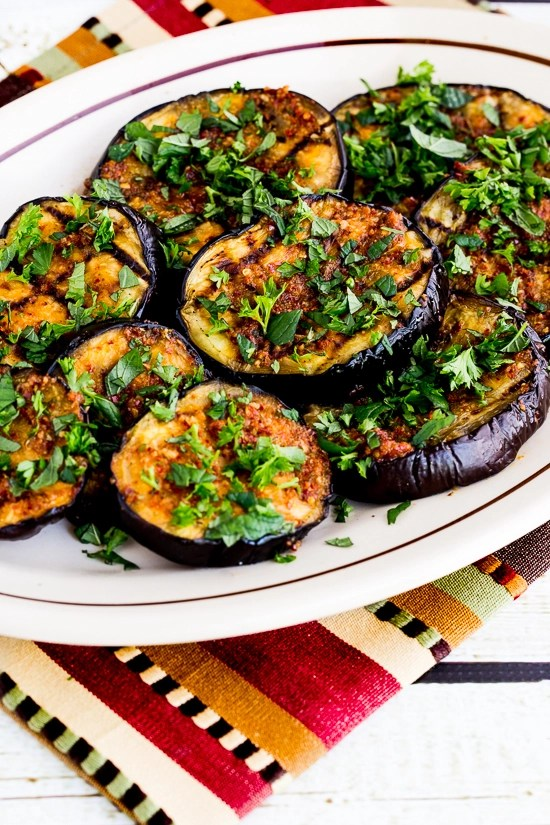 SPICY GRILLED EGGPLANT WITH RED PEPPER, PARSLEY, AND MINT
