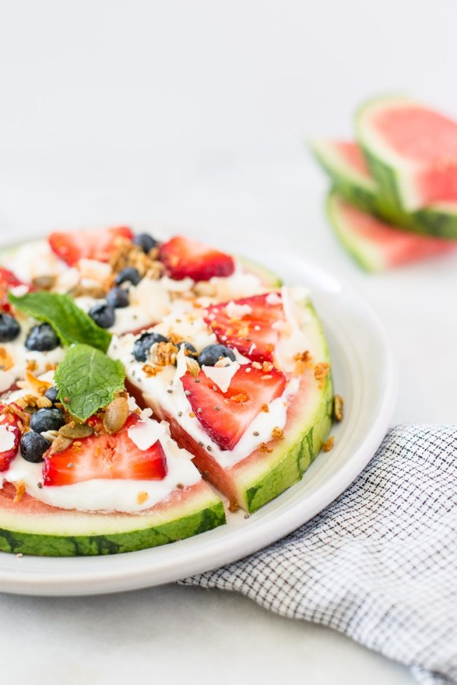 VEGAN WATERMELON FRUIT PIZZA WITH TOASTED COCONUT