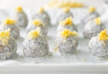 Lemon Energy Balls with Poppy Seed Coconut Glaze