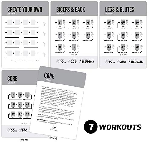 "Exercise Cards Dumbbell Home Gym Strength Training Building Muscle Total Body Fitness Guide Workout Routines Bodybuilding Personal Trainer Large Waterproof Plastic 3.5""x5"" Burn Fat 5"