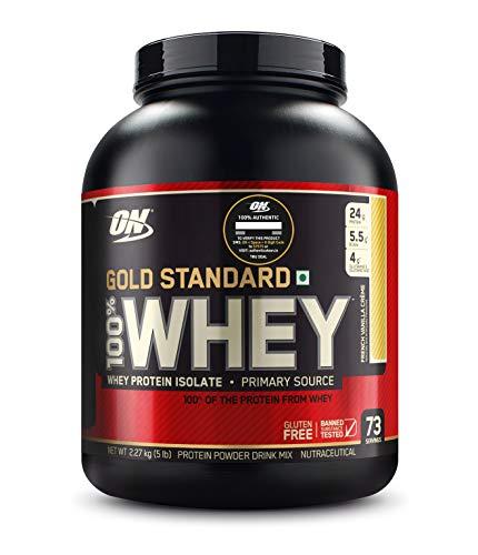 Optimum Nutrition (ON) Gold Standard 100% Whey Protein Powder – 5 lbs, 2.27 kg (French Vanilla Creme)
