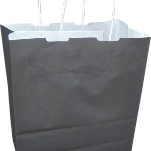 siyah renk büküm saplı beyaz kraft poşet