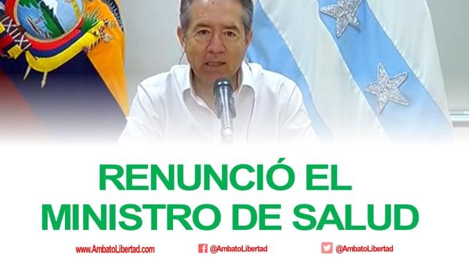 renunció el ministro de salud de ecuador