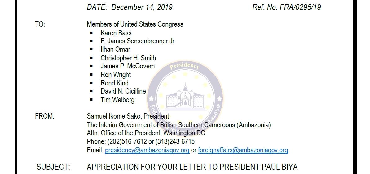 Deep appreciation from President Sako Ikome to members of