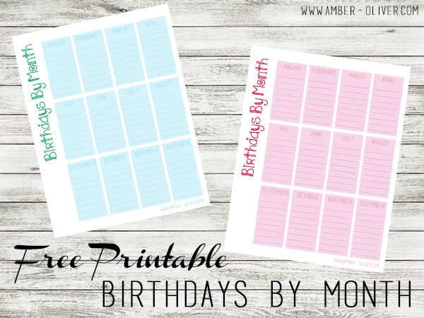 Birthdays by Month FREE PRINTABLE from Amber-Oliver.com